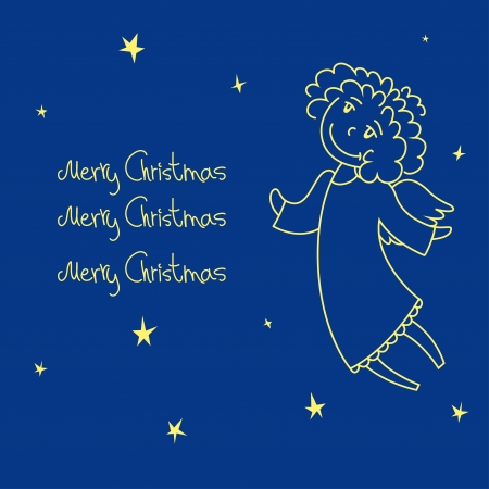 A christmas card with an angel Vector
