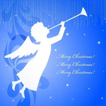 A blue square christmas card with an angel shape Vector
