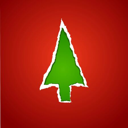 A christmas background with the paper torm christmas tree Vector