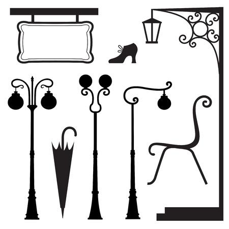 lamp outline: A set of vintage elements