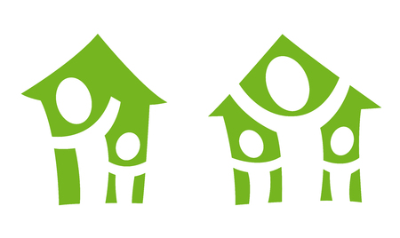 resident: The two pictogram with the people happy in the house