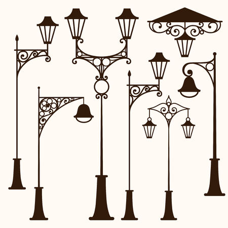 A set of retro vintage street lamps Vector