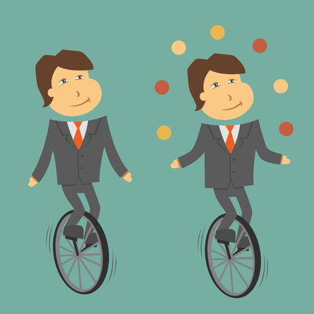 unicycle: A clerk balancing on a unicycle Illustration