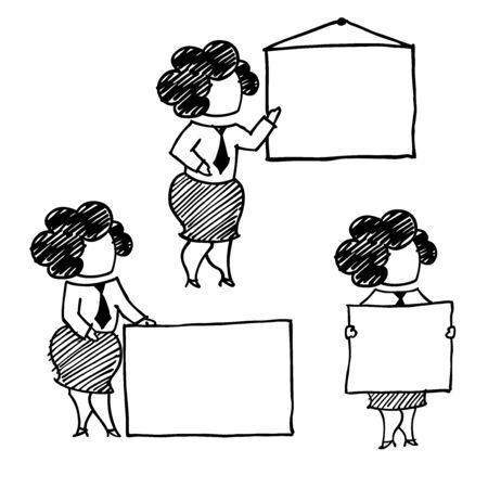 clerk: A vector woman clerk set.