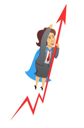 A vector business woman increasing the results Vector