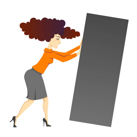 dike: A sketch of a woman pushing a block