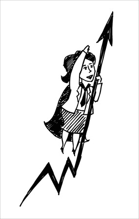 businesslady: A vector sketch of a superwoman with an arrow Illustration