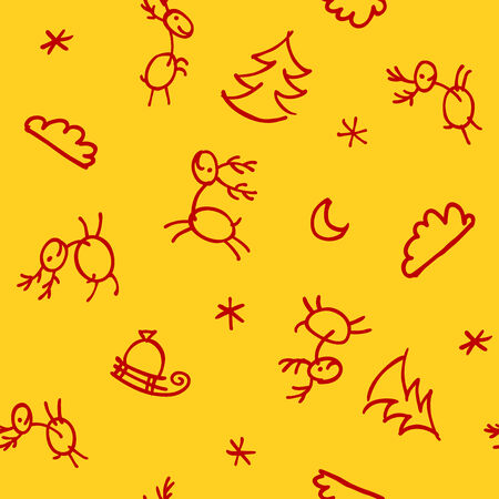 A seamless christmas pattern with deer doodles