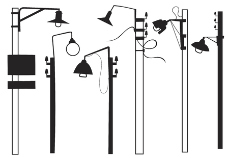 A set of retro street lamps Illustration