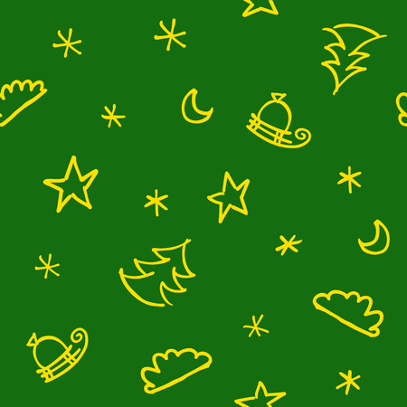 A seamless christmas pattern with clouds and snowflakes