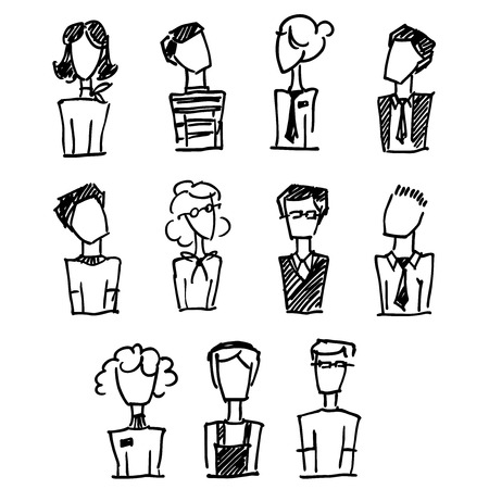 A set of doodle office avatars Vector
