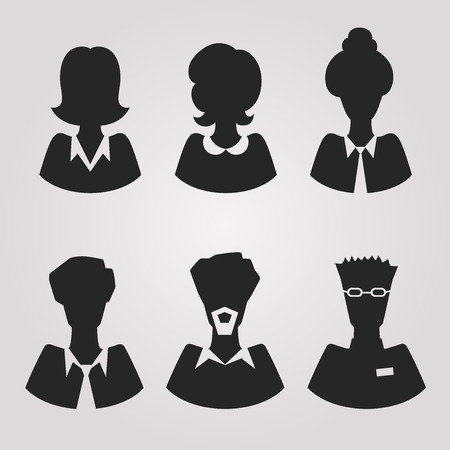 A set of realistic silhouette office avatars Vector