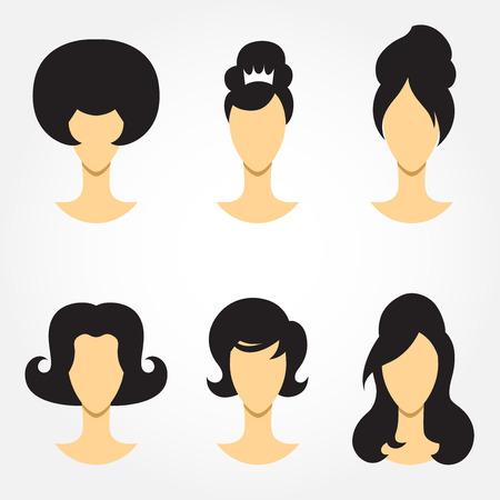 A set of retro woman haircut silhouettes Vector