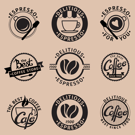 logo de comida: Un conjunto de iconos vectoriales de café