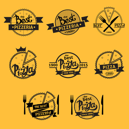 A set of vector retro pizza icons Illustration
