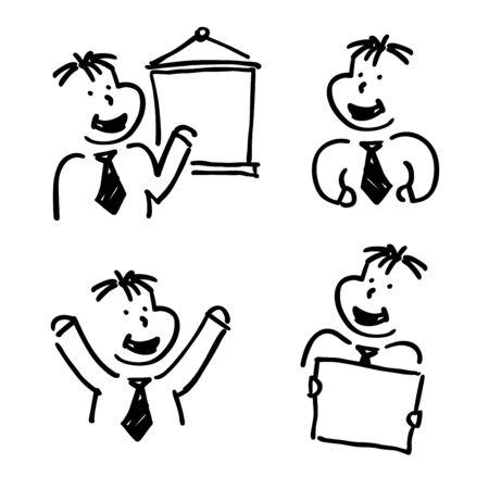 A doodle office clerk image set Vector
