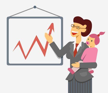 madre trabajadora: Una imagen del vector plana de una madre trabajadora