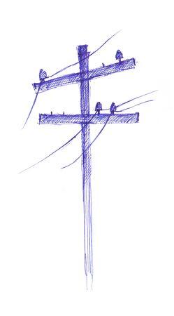 street lamp: A freehand retro street lamp sketch