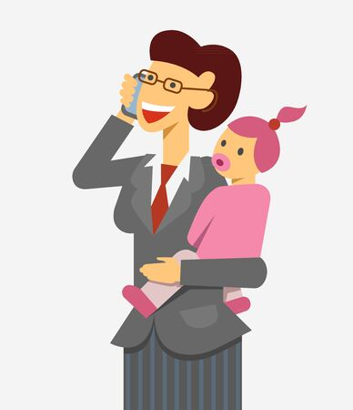 multitask: A vector image of  working mother with a baby talking a phone