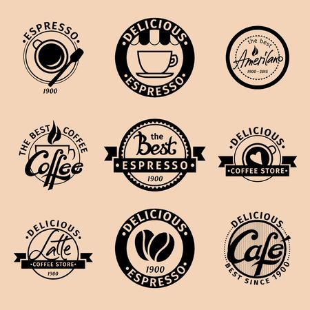 流行に敏感なコーヒーのアイコンのセット
