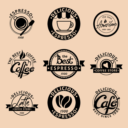 A set of hipster coffee icons