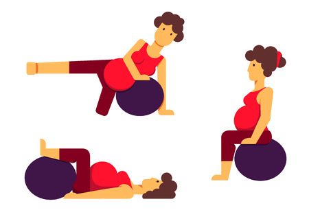A set of flat vector images of a pregnant woman making exercises with a fitball Illustration