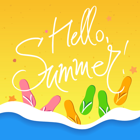 HI: A vector square image with a hello summer freehand text