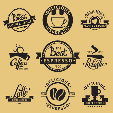 A set of hipster coffee icon designs. Coffee, latte and robusta lettering