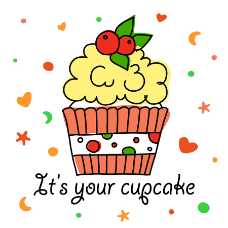 A vector square image with a cupcake with a freehand outline and a dessert lettering