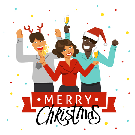 A Christmas party in the office. Decorated office workplace. Office team having a holiday with music and dance. Flat style vector illustration. Illustration