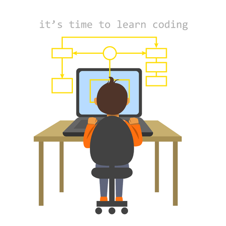 A vector isolated image of a boy sitting at the desk and coding on the laptop making a block scheme. IT for children illustration.