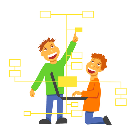 A vector image with boys coding a block chain.children studying programming languages. Computer education Illusztráció