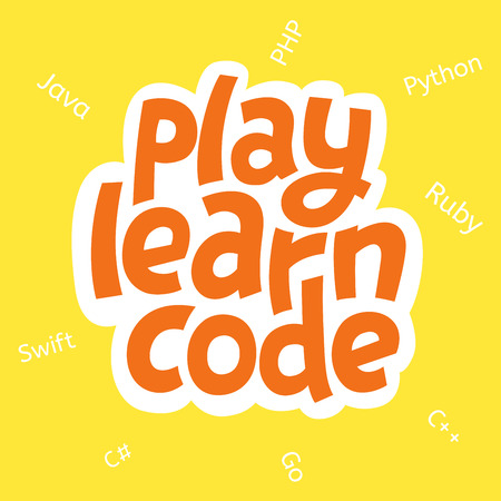 A vector image with a lettering play learn code. A children coding theme isolated text with the programming languages