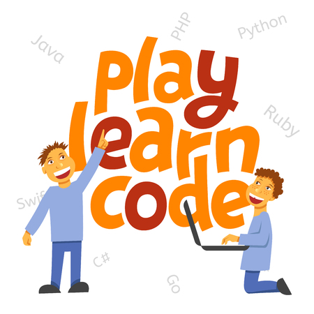 A vector image with a lettering play learn code. A children coding theme isolated text with the programming languages and boys children coding Illusztráció