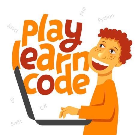 A vector image with a boy coding and a lettering Play learn code. A children coding theme isolated text with the programming languages and a boy kid coding