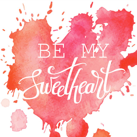 Happy Valentine's day hand lettering on watercolor background. Vector typography. Romantic quote postcard, card, invitation, banner template.