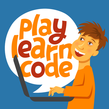 A vector image with a boy coding and a lettering Play learn code. A children coding theme text with the programming languages and a boy kid coding