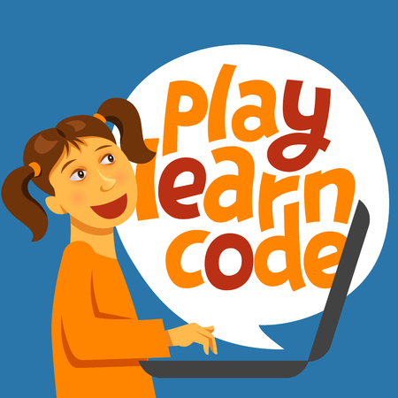 A vector image with a boy coding and a lettering Play learn code. A children coding theme text with the programming languages and a girl kid coding