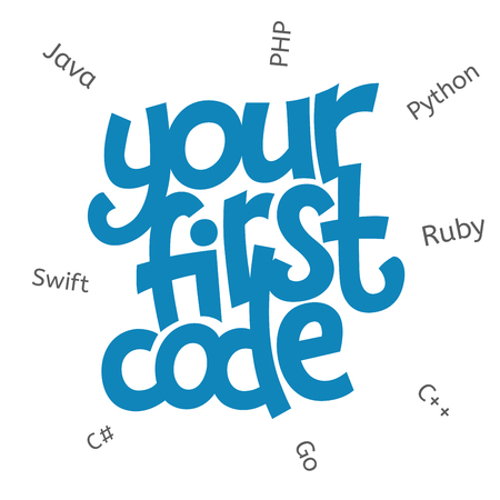 A vector image with a lettering your first code. A children coding theme isolated text with the programming languages