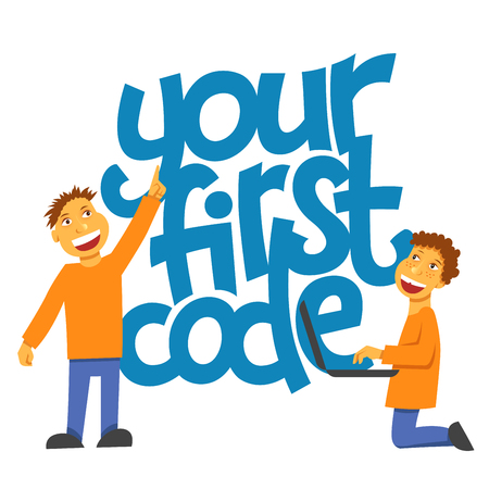 A vector image with a lettering your first code. A children coding theme isolated text with the programming languages and boys children coding Ilustrace