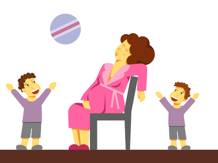 A flat vector image of a pregnant woman being tired with older children. Motherhood theme. Kids playing ball at home.