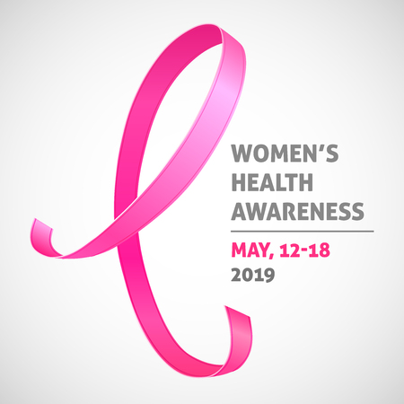 A square vector image with a pink ribbon as a symbol of women health awareness. A world women's health day. A template for a medicine flyer poster card design
