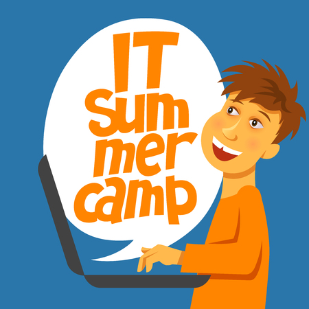 A vector image with  a boy and a lettering IT summer camp. A children coding theme isolated text with the programming languages