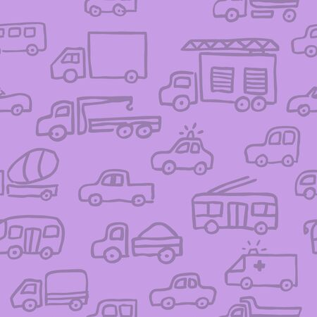 A vector seamless pattern with auto doodle outline images. A firefighting truck, a truck and other machines in purple halftones  for a design. Illustration