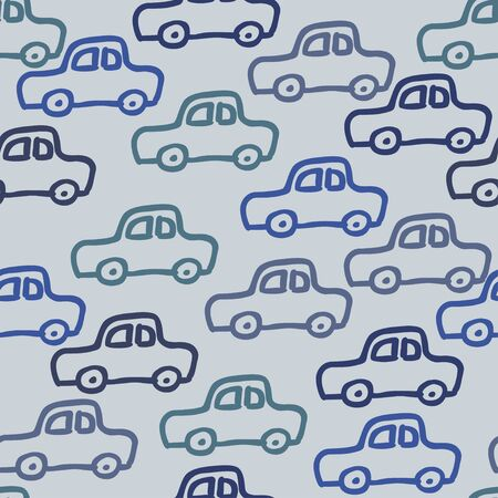 A vector seamless pattern with auto doodle outline images. Sedan automobiles  in blue halftones for a design.