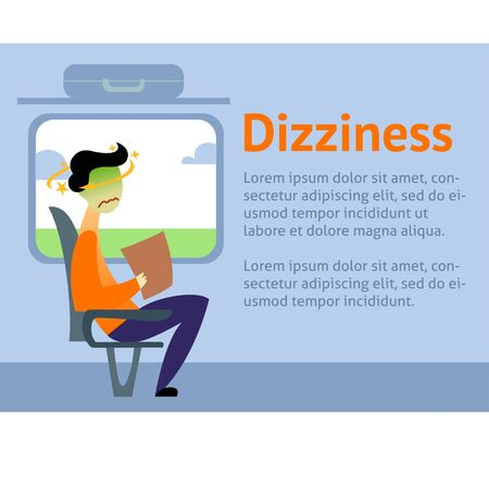A vector image of a man in the transport with motion sickness and dizziness. A color image for a travel poster, flyer or article.