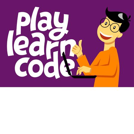 A square image of the boy who studies coding. A vector image for a flyer or a poster for the chidren coding school. Play learn code lettering
