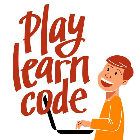 A square image of the boy who studies coding. A vector image for a flyer or a poster for the chidren coding school