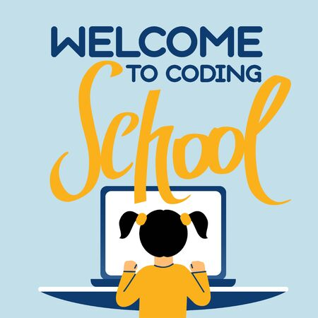 A square image of the girl who studies coding. A vector image for a flyer or a poster for the chidren coding school. Blue and yellow colors