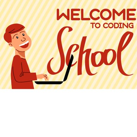 An image of the boy who studies coding. A vector image for a flyer or a poster for the chidren coding school